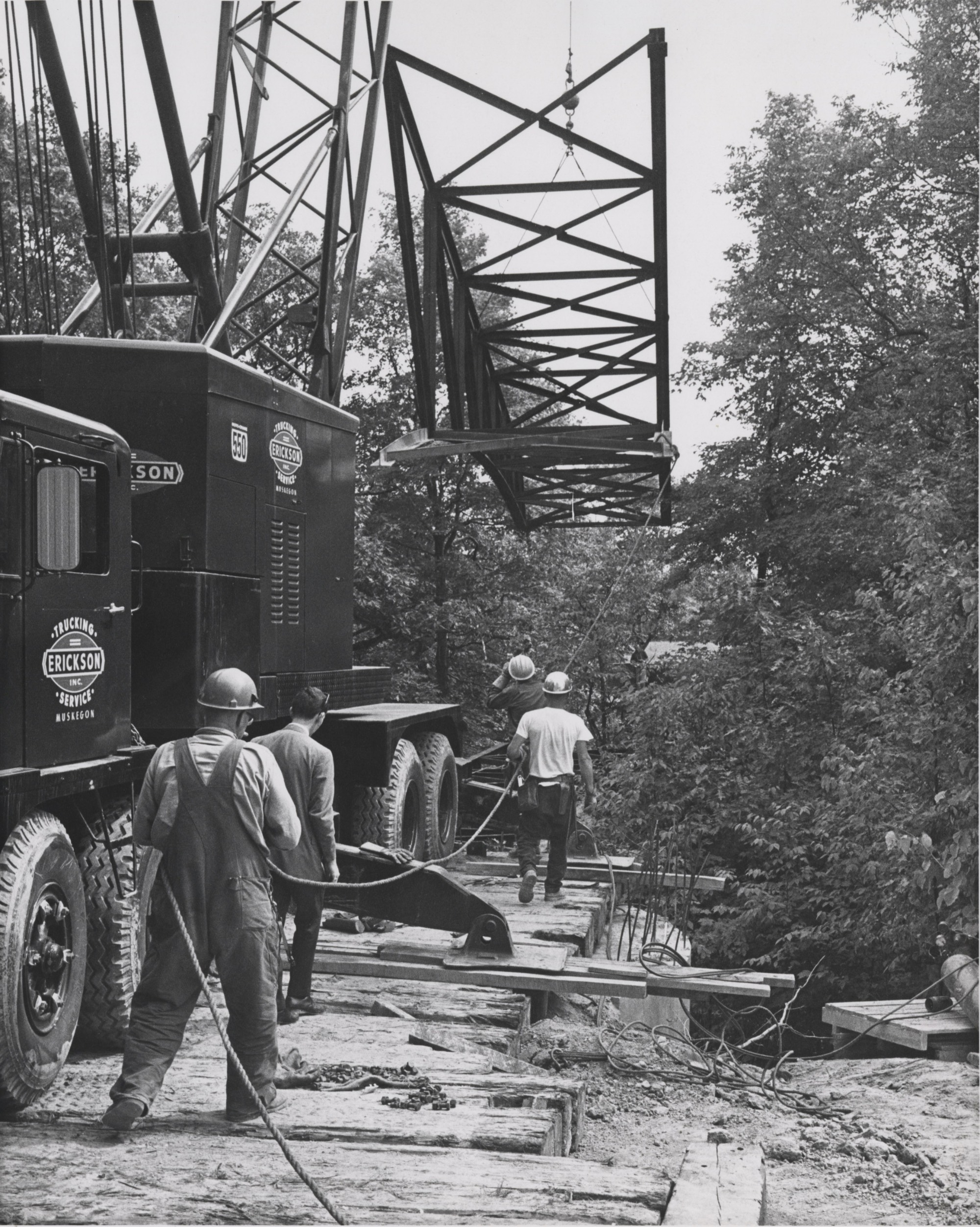 Construction of Little Mac Bridge, ca. 1963.